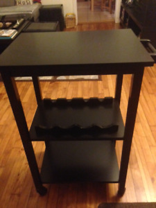 Black Finish Wood Kitchen Storage Serving Cart W/ Wine Rack