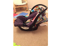 cosatto car seat (group 0+) and carry cot pram top