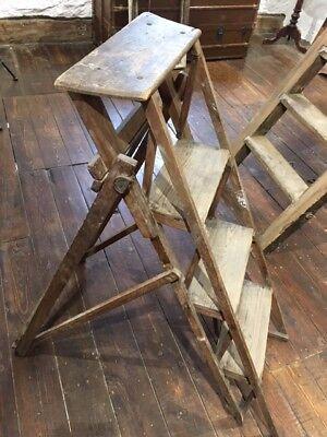 Vintage Pitch Pine Folding Step Ladder