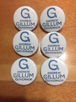 Gillum Florida Governor 6-Pack 1 1/2 inch Pin-Back Buttons SHIPS FREE