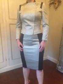Karen Millen Skirt Suit - Silver and Black