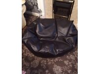 Large dark brown leather seating bean bags for sale