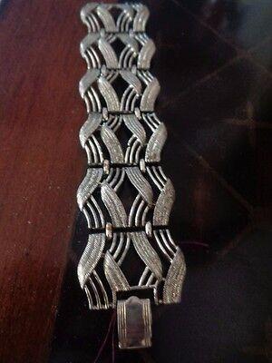 Vintage Coro Signed Silver Tone Bracelet Wide Links
