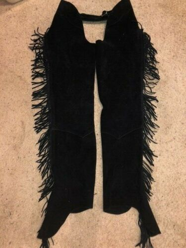 WOMENS BLACK SUEDE LEATHER BARN STABLE WESTERN SHOW FRINGE CHAPS XL