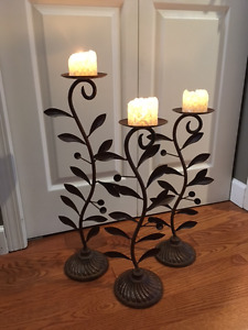 candle stands, metal, set of 3