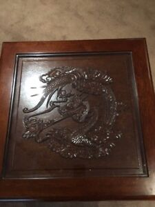Moving sale - carved dragon coffee and end table
