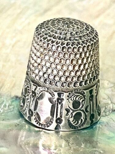 Antique Sterling Silver Thimble 7 Gorgeous Band Design!!
