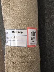 Beige Saxony Carpet Remnant (3.55 x 4 metres) for £95 - REF: 065
