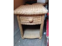 2 x shabby chic wicker bed side tables