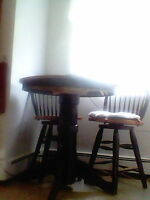 pedestal table & 2 chairs wooden