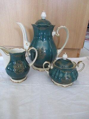Reichenbach Prunk Barock Kaffeekanne Sahnekännchen Zuckerdose grün Golddekor
