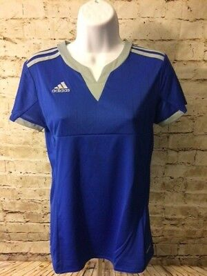 Climacool Jersey Tee (Adidas Womens Climacool Blue Glory Jersey V Neck T Shirt Size XS Girls L [A458] )