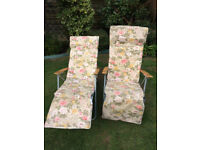 2 x Garden/Patio Adjustable Recliner Lounger Chairs