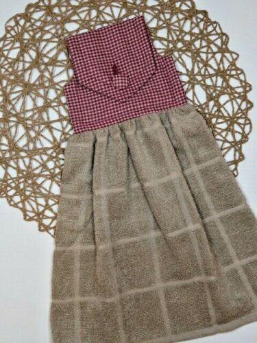 Homespun Burgundy Small Checks Fabric Print Top Tan Hanging Handmade Hand Towel