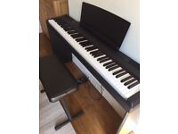 Yamaha P105 Digital Portable Piano with stand, sustainer pedal and stool (S. London SM6)