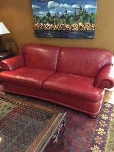 Brick red leather 83-inch roll-arm sofa