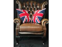 Handmade Tan Leather Chesterfield Clarendon Style Wingback Chair