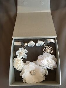 Beautiful bridal / statement flower necklace and earrings
