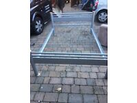 Double Silver Metal Bed Frame + Slates - Good Condition