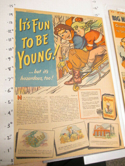 newspaper ad 1937 CREAM OF WHEAT cereal box kids winter snow sledding sled