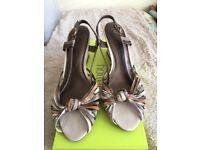 Elegant Ladies Sandals 6.5 wedge heel, multi coloured straps