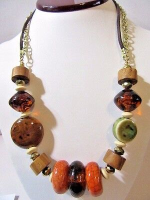 CERAMIC MIXED ARTSY NECKLACE APPLE CORAL HIPPIE BOHO BIG BEADS FASHION MODERN