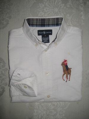 Ralph Lauren Boys Big Pony Oxford Dress Shirt Sz 6 NWT White Blue $39.50