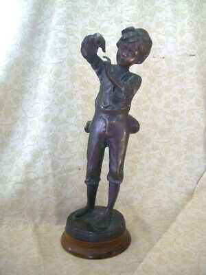 Antique vintage french spelter figure signed