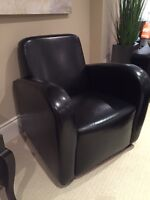 **TWO 'URBAN BARN' BLACK LEATHER CLUB CHAIRS FOR SALE $60**