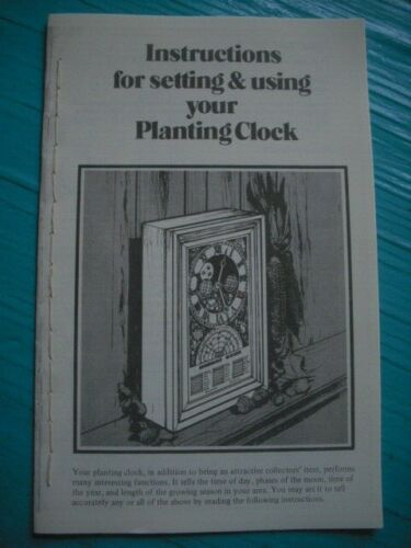 Instruction Booklet Copy for Mechtronics Burpee Time to Plant Clocks