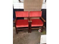 2 x Beautiful Old Large *FIRESIDE CARVER CHAIRS* Matching Thrones Burnt Orange Velvety Fabric