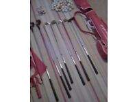 SET OF GOLF CLUBS QUICK SALE £ 5 50 BALLS TEES BAG UMBRELLA ETC