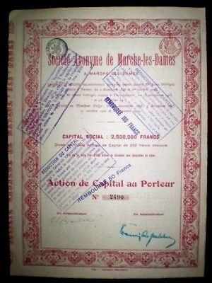 Société Anonyme de Marche-les-Dames 1912 Share certificate