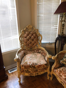 French Provincial Sofa, end chair, dining chairs and table