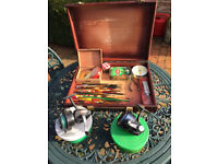Fishing rods, tackle box, carry box with seat, landing net, keep net and ABU 506 reel