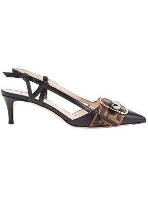 Fendi Slingback Shoes Leather Strap Pumps