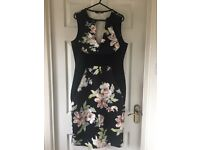 Quiz - black floral sleeveless dress