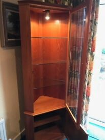 Teak Glass Door Nathan Corner Display Cabinet.