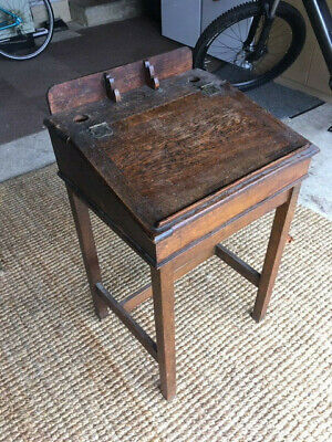 Victorian Antique Writing desk with ink wells: solid, good condition