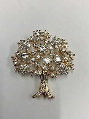 Absolute Beautiful Full Crystal Tree Gold Plated Brooch