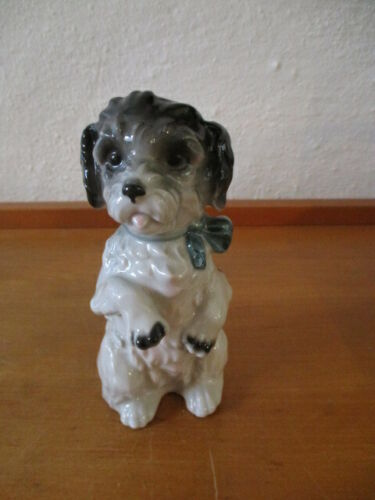 Beautiful Porcelain Figurine Wagner & Apel Standing Poodle Or Hybrid with Bow