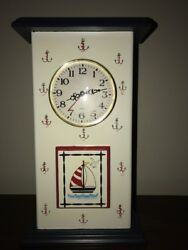 Nautical Anchor and Sailboat Table Mantel Clock New