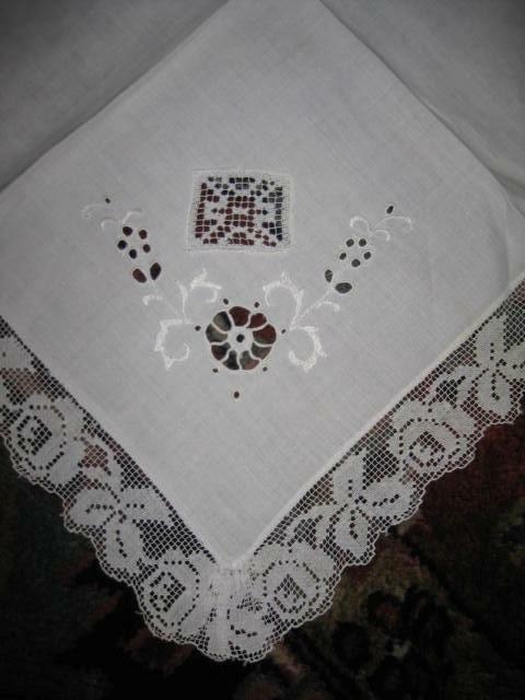 "12 antique Fancy Embroidered LINEN & LACE Dinner NAPKINS 19"" handmade UNIQUE GR8"