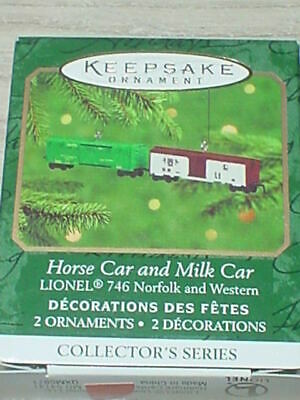 HALLMARK LIONEL TRAIN HORSE AND MILK CAR #2 SERIES 2000 CHRISTMAS ORNAMENTS SET