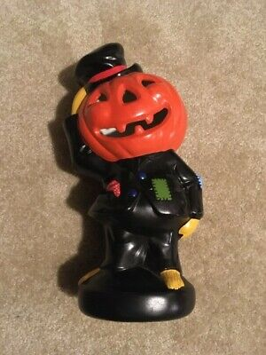 vintage pumpkin head scarecrow with top hat, hand painted ceramic fall autumn