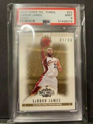 2007 TOPPS TRIPLE THREADS GOLD LEBRON JAMES PSA 9 MINT #23 31/33