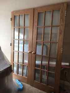 Pre-Finished Double Oak French Doors