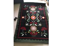 IKEA carpet rug black Akerkulla green 133 x 195