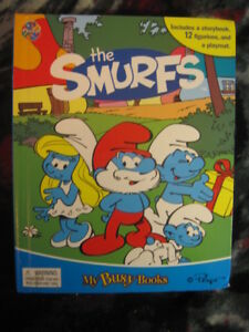 "(NEW) MY BUSY BOOKS ""THE SMURFS"" STORYBOOK W/PLAYMAT & 12 FIG'S"