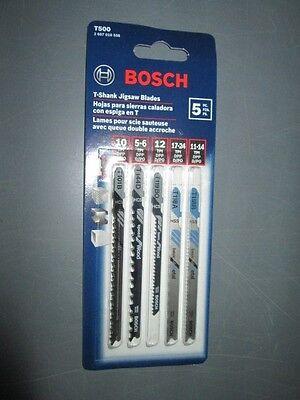 Bosch T500 5-Piece T-Shank Jigsaw Blade Set
